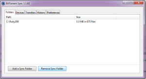 The BitTorrent Sync Interface where you can stop a folder from further syncing